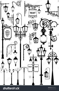Lanterns Vector illustration of retro and modern street l. - Lanterns Vector illustration of retro and modern street lanterns Created - Doodle Drawings, Doodle Art, Drawing Sketches, Drawing Ideas, Sketching, Bullet Journal Inspiration, Art Reference, Illustration, Doodles