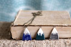 Miniature Mountain Charm  Grey Turquoise or Dark by BackBayPottery, $12.50