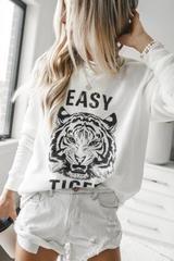 White Long Sleeve, Long Sleeve Tops, Tiger Clothing, Tiger Shirt, Tee Shirt Designs, Loose Fitting Tops, Casual Tops, Graphic Sweatshirt, Sweatshirts