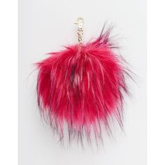 River Island Faux Fur Pom Keyring ❤ liked on Polyvore featuring accessories, river island and pom pom key ring