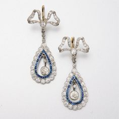 WHITE GOLD, DIAMOND AND SAPPHIRE EARRINGS