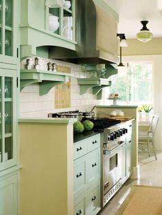 Green Kitchen Remodel on Green Galley Kitchen Mint Green Kitchen, Green Kitchen Cabinets, Cupboards, Aqua Kitchen, Pastel Kitchen, Kitchen Walls, Upper Cabinets, Oak Cabinets, Kitchen Colors