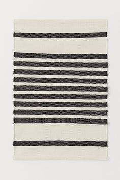 Striped Bath Mat - Natural white/black striped - Home All