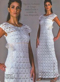 Crochetemoda: Crochet - Vestido Longo Branco