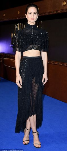 """Ruffle up in a black frilly midi skirt like Katherine's  Click """"Visit"""" to buy #DailyMail"""