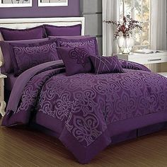 Dress your bed in elegance with the beautiful Curtis Damask Comforter Set. Adorned with a unique transitional ironwork motif, the deep plum bedding instantly adds an opulent look to any room& décor. Plum Bedding, Purple Comforter, Purple Bedding Sets, Bedroom Comforter Sets, Luxury Bedding Sets, Turquoise Bedding, King Comforter, Purple Bedroom Decor, Bedroom Colors
