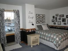 Teen's Photos-Galore Bedroom, Teenage girl's design of a black and white bedroom with photos as the main design feature, Teenagers bedroom with white and black walls accented with a photo border and black frames with photos, Bedrooms Design
