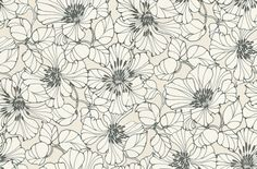 Passion (30737) - Harlequin Wallpapers - Six new fashion colours for this popular billowy floral design and a new easy to use paste the wall backing.  Shown drawn in charcoal with clear white petals on an off-white base. Please ask for sample for true colour match.