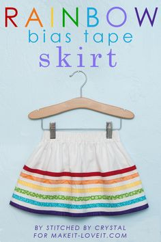 DIY Rainbow Bias Tape Skirt.....perfect for Spring!