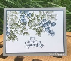 """Jeannie Nielsen on Instagram: """"Forever Fern in dark greens and blues: a sympathy card using one of Stampin' Up!'s new In  Colors, Misty Moonlight.  I stamped (and stamped…"""" Leaf Cards, Stamping Up Cards, Get Well Cards, Cards For Friends, Fall Cards, Card Sketches, Sympathy Cards, Flower Cards, Creative Cards"""