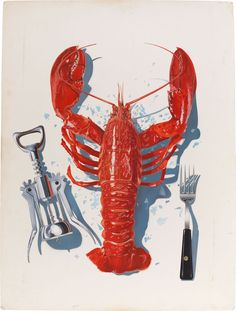 Original Comic Art titled Vintage Lobster Advertising Art, located in Timothy's Illustration Art Comic Art Gallery Graphic Prints, Poster Prints, Crab Party, Red Lobster, Incredible Edibles, Beach Art, Rhode Island, Summer Fun, Comic Art