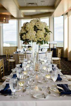 Wedding Floral Centerpiece by Dream Design Florist - Navy and Gold Citrus Club Wedding - Downtown Orlando Wedding Venue - Photo by Sivan Photography - Wedding Planner - Orange Blossom Bride - www.orangeblossombride.com - click pin for more