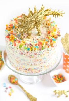 Fruity Pebbles Crispy Treat Cake   Sprinkle Bakes