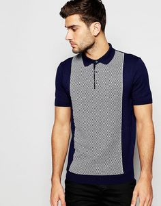River+Island+Polo+Shirt+With+70s+Patterned+Panel