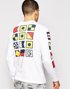 Image 1 of Billionaire Boys Club Long Sleeve T-Shirt With Flags Back Print