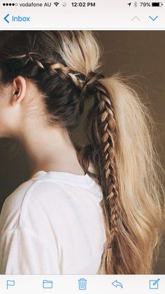 41 DIY Cool Easy Hairstyles That Real People Can Actually Do at Home! - Cool and Easy DIY Hairstyles – Messy Braided Ponytail – Quick and Easy Ideas for Back to School - Cool Easy Hairstyles, No Heat Hairstyles, Pretty Hairstyles, Heatless Hairstyles, Latest Hairstyles, Easy Hairstyles For Medium Hair For School, Ponytail Hairstyles With Braids, Wedding Hairstyles, Medium Hairstyles