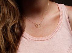 Three Circles Necklace, Family Necklace, Trinity, Gold Halo Necklace, Karma Necklace, Simple Circle Necklace in 14kt Gold filled