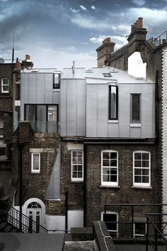 Discover recipes, home ideas, style inspiration and other ideas to try. Parasitic Architecture, Facade Architecture, Amazing Architecture, Zinc Cladding, Exterior Cladding, Contemporary Building, Contemporary Architecture, Modern Contemporary, London Fletcher