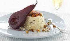Decadent poached pears served with soft, creamy Kapiti Kikorangi Blue Cheese Mousse.