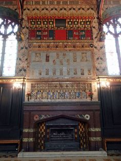 The tiled and painted fireplace in the Old Hall, Queens College, Cambridge - work undertaken by Morris & Co. Queen's College, William Morris, About Uk, Cambridge, Places To See, Art Decor, United Kingdom, Queens, 19th Century