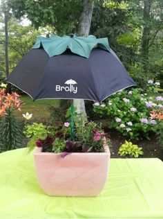 s don t ditch your broken umbrella til you see what people do with them, crafts, outdoor furniture, repurposing upcycling, Use it to shade your delicate flower pots Hillside Landscaping, Landscaping Ideas, Backyard Ideas, Patio Ideas, Shade Umbrellas, Herb Planters, Shade Flowers, Veg Garden, Ornamental Plants