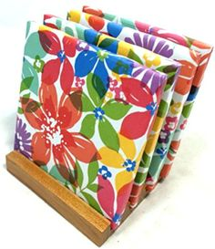 """Custom & Cool {4.25"""" Inches} Set Pack of 4 Square """"Flat & Smooth Texture"""" Drink Cup Coaster Made of Ceramic w/ Cork Bottom & Watercolor Flowers Design [Colorful Blue, Green, Red, & Purple Colors] mySimple Products"""