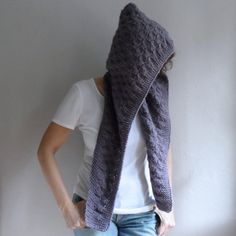 Knit Hooded Scarf Chunky Wool Hood Lilac Knit Hood by bysweetmom, $50.00