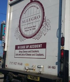 I spotted this on a wine truck... I should follow them.