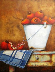 Stella Bruwer Kitchen Art, Kitchen Shop, Apple Art, South African Artists, Country Paintings, Hand Towels, Still Life, Artsy, Pomegranates
