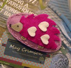 NO SLIP Wool felt hair clip Raspberry hedgehog old by MayCrimson, $6.00
