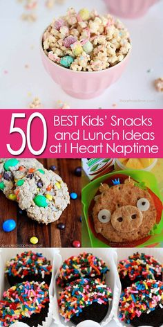 50 of the BEST Kids' Snack and Lunch Ideas! I Heart Nap Time | I Heart Nap Time - Easy recipes, DIY crafts, Homemaking (scheduled via http://www.tailwindapp.com?utm_source=pinterest&utm_medium=twpin&utm_content=post315671&utm_campaign=scheduler_attribution)