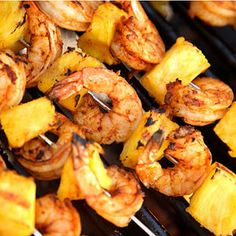 1lb extra large shrimp, 3 boneless chicken breasts cubed, 2 cups of pineapple chunks, 2/3 cup soy sauce, 2 tablespoons agave nectar, 2 tablespoons lime juice, and 1 teaspoon ground ginger. Combine soy, agave nectar, lime juice, and ginger. Marinate chicken, shrimp, and pineapples for at least 30 mins. Skewer and grill! YUM!