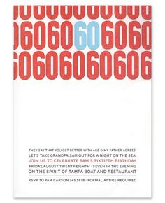 60th Invitations - Smudge Ink (