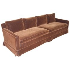 Sectional Sofas Mid Century Modern Grand Sofa Reupholstered in Chocolate Mohair Goose Down