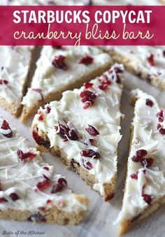 These homemade Cranberry Bliss Bars taste JUST LIKE the ones from Starbucks!