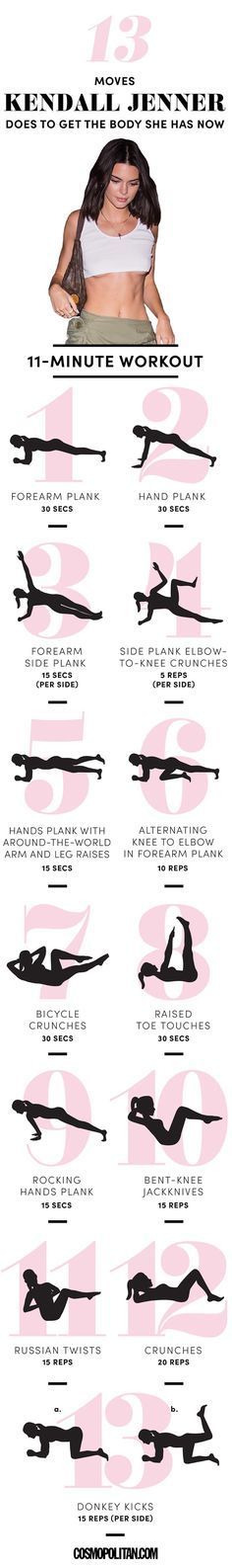 Kendall Jenner 11 minute Ab Workout