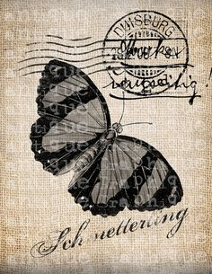 butterfly postcard Decoupage Vintage, Decoupage Paper, Shabby Vintage, Vintage Ephemera, Vintage Postcards, Vintage Images, Fairy Templates, Dragonfly Images, Paper Art