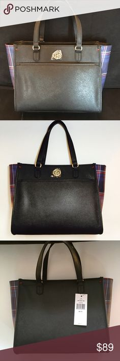 TOMMY HILFIGER SHOPPER TOMMY HILFIGER SHOPPER. Medium sized handbag. NEW WITH TAG. 12X10 size bottom width is 5 inches. Perfect condition. Original price is 89.00 offers are welcome, no trades. Beautiful plaid patterning on the sides. Tommy Hilfiger Bags Shoulder Bags