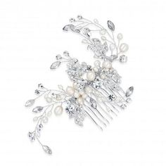 Alan Hannah Devoted Designer pearl and crystal hand wrapped leaf comb- at Debenhams.com