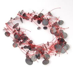 Enric Majoral statement necklace, black and red necklace, big necklace