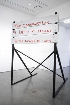 marc bijl   'Construction Sign (walter Benjamin) 2008  Wood, mirror-formica and paint + spraypaint graffiti