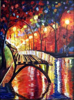 Giclee Print, Park Bench in Rain, Modern Impressionism Abstract with Bright Colors Night Rain Streetlamps
