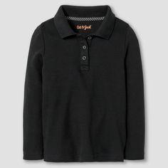 Toddler Girls' Long Sleeve Interlock Polo Shirt Cat & Jack - Black 5T, Toddler Girl's