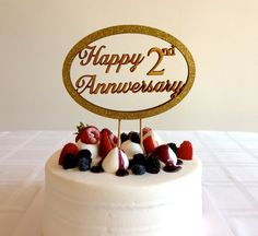 Happy Anniversary  Classic Cake Topper With Number by CaroandCoco, $40.00