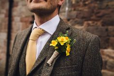 Dafffofil Buttonholes Groom Vintage Sports Rustic Yellow Barn Wedding http://www.redonblonde.com/