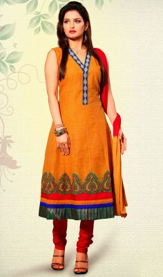 Charming Deep Orange Anarkali Suit Charm onlookers with this charming deep orange Anarkali suit. It has been beautifully designed with brocade patch, patch and resham work. Brocade might vary from actual image.  #HeavyAnarkaliSuits #PartywearAnarkaliSuits