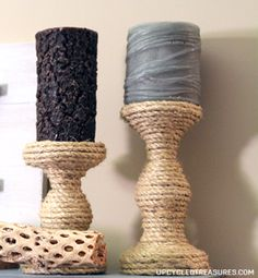 DIY Rope Candle Holders, instead if spray painting to update.