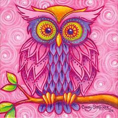 Owl in Pink Art Print by Cindy Strecker Owl Illustration, Illustrations, Wal Art, Whimsical Owl, Pink Wall Clocks, Owl Pictures, Beautiful Owl, Beautiful Artwork, Pink Owl
