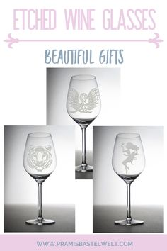Your search for the perfect gift ends here.  These custom wine glasses are etched with beautiful and stunning motifs.