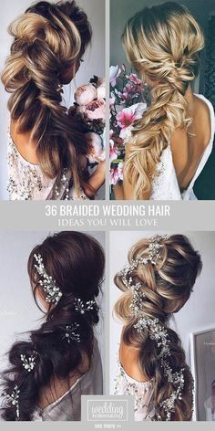36 Braided Wedding Hair Ideas You Will Love ❤ From soft waves to gorgeous updo. Hairstyles, 36 Braided Wedding Hair Ideas You Will Love ❤ From soft waves to gorgeous updos and ponytails, brides have so many hairstyles to consider. See our g. Braided Hairstyles For Wedding, Ponytail Hairstyles, Bride Hairstyles, Pretty Hairstyles, Hairstyle Wedding, Simple Hairstyles, Country Wedding Hairstyles, Knot Ponytail, Bridesmaid Hairstyles